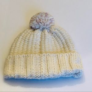 The North Face- Cable Knit Pom Hat- white w/purple